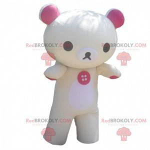 Žlutý a bílý maskot medvídka, kostým medvídka - Redbrokoly.com