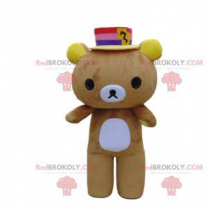 Brown and white teddy bear costume with a colorful hat -