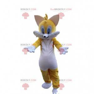 Mascote gato amarelo e branco, fantasia colorida de gato -