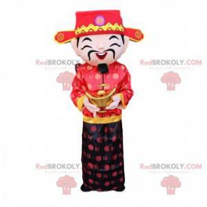 Aziatische man mascotte, god van de rijkdom kostuum -