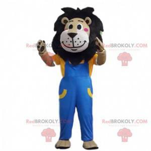 Mascote leão marrom vestido de macacão, fantasia de felino -