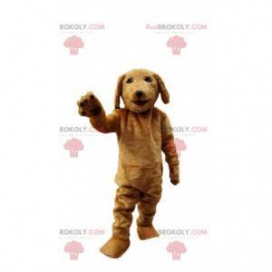 Mascote de cachorro marrom muito realista, fantasia de cachorro