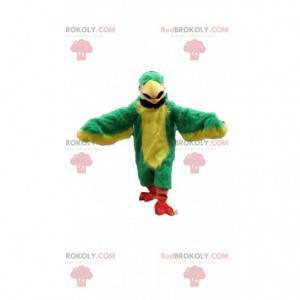 Zelený a žlutý papoušek maskot, kostým exotických zvířat -