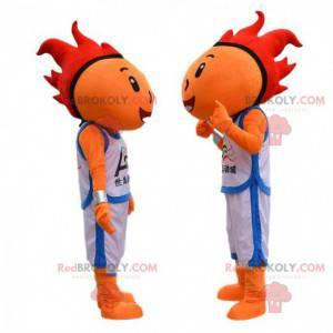 Mascotte di basket arancione con i capelli rossi -