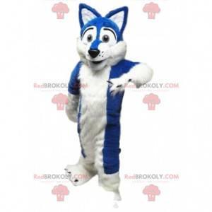 Traje de cachorro branco e azul, macio e encantador -