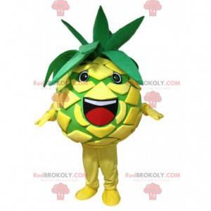 Mascote abacaxi amarelo e verde, fantasia de frutas exóticas -