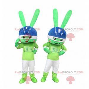 2 groene konijnenmascottes, kleurrijke konijnenkostuums -