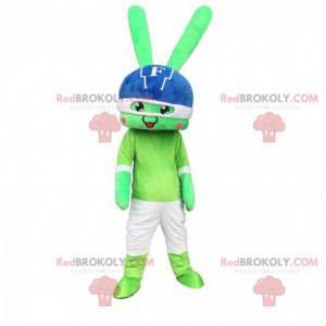 Mascote coelho verde gigante com um capacete na cabeça -