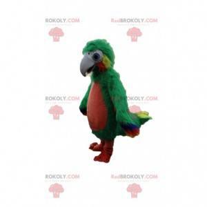 Mascote papagaio verde vermelho e amarelo, gigante e peludo -