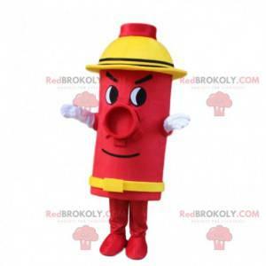 Mascote vermelho e amarelo hidrante, gigante - Redbrokoly.com