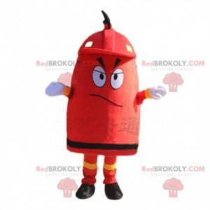 Mascotte gigante idrante antincendio rosso, costume da pompiere