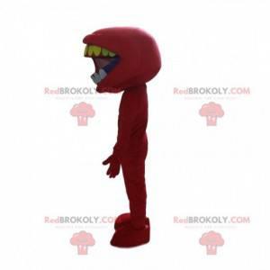 Maskot mund fuld af tænder, fremmed kostume - Redbrokoly.com