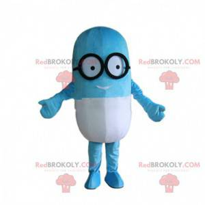 Mascote da pílula com óculos, fantasia gigante de drogas -