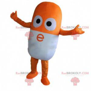 Oranje en witte pil mascotte, gigantische drugskostuum -