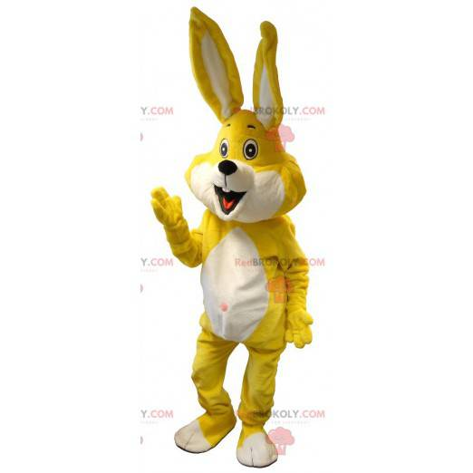 Gigantisk hvit og gul kaninmaskot - Redbrokoly.com