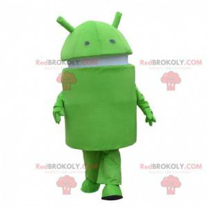 Android mascot, green and white robot costume, mobile phone