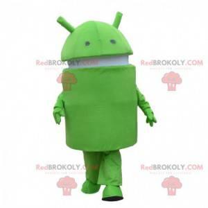 Android maskot, grøn og hvid robot kostume, mobiltelefon