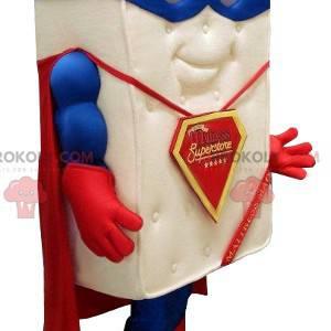 Gigantische matrasmascotte gekleed als een superheld -