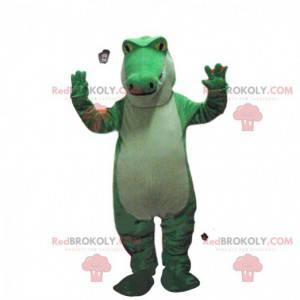 Groene en witte krokodil mascotte, alligatorkostuum -