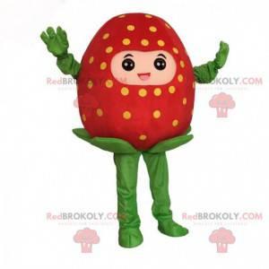 Mascotte gigantische rode aardbei, aardbeikostuum -