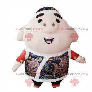 Mascotte di maiale gonfiabile gigante, costume da maiale -