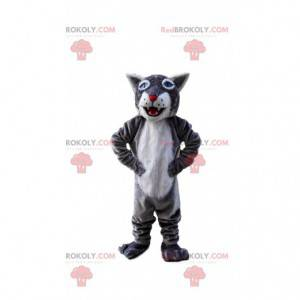 Šedý a bílý tygr maskot, obří kočičí kostým - Redbrokoly.com