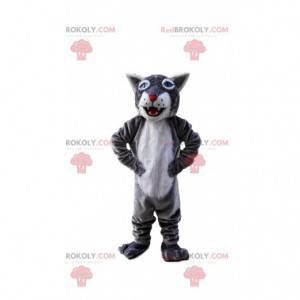 Mascote tigre cinza e branco, fantasia de felino gigante -