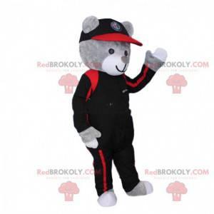 Šedý medvídek maskot oblečený jako pilot. Medvědí kostým -