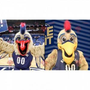 2 Maskottchen mit großen braunen und blauen Vögeln -