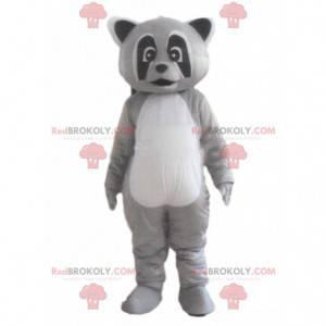 Driekleurige wasbeer mascotte, grijs dierenkostuum -