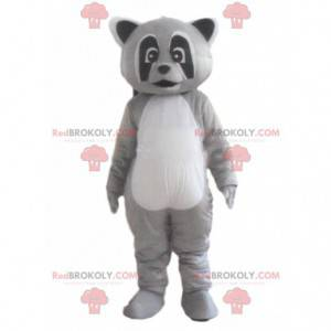 Mascote guaxinim tricolor, fantasia de animal cinza -