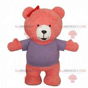Maskot růžový a bílý medvídek, kostým růžového medvěda -