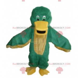 Mascote de pato verde e amarelo, fantasia de pássaro colorida -