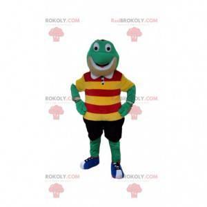 Grünes Froschmaskottchen mit bunten Kleidern - Redbrokoly.com