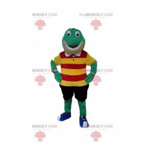 Mascotte rana verde con abiti colorati - Redbrokoly.com