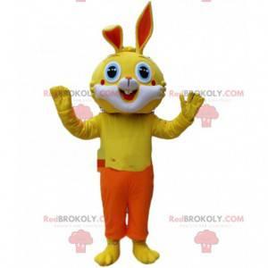 Mascotte coniglio giallo con pantaloni arancioni, costume da
