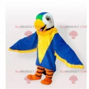 Blaues, gelbes, grünes und weißes Papageienmaskottchen -