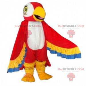 Mascotte rood, geel, blauw en wit papegaai - Redbrokoly.com