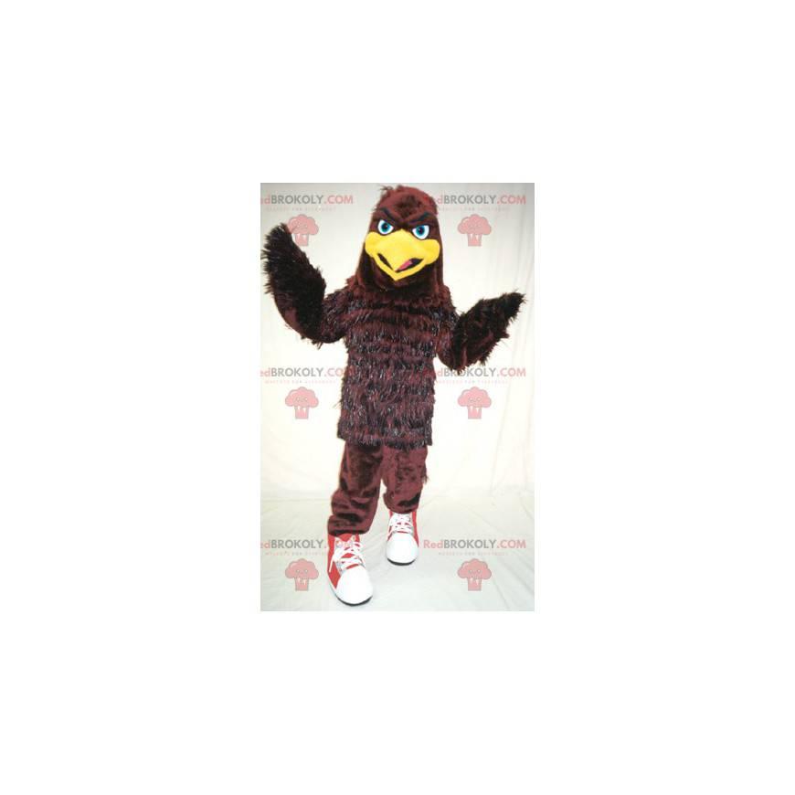 Braunes und gelbes Vogeladler-Maskottchen - Redbrokoly.com