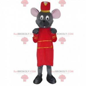 Grå musemaskot klædt som en butler - Redbrokoly.com