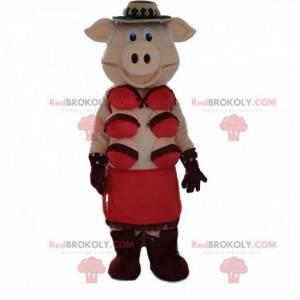 Mascotte di maiale cabaret, travestimento da cabaret -