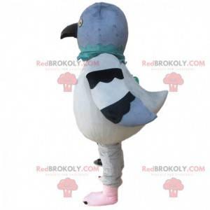 Maskot obřího holuba, šedý a bílý, kostým holuba -