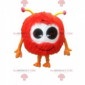 Sehr haariges rotes Fellballmaskottchen, haariges Kostüm -