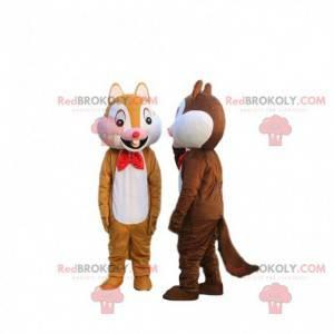 2 Maskottchen von Tic et Tac, berühmten Cartoon-Eichhörnchen -