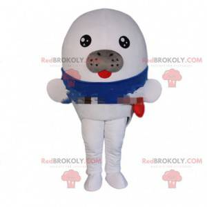 Mascotte witte zeeleeuw, kostuum reusachtige zeeleeuw -