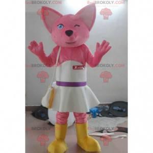Mascotte gatto rosa con un vestito bianco - Redbrokoly.com