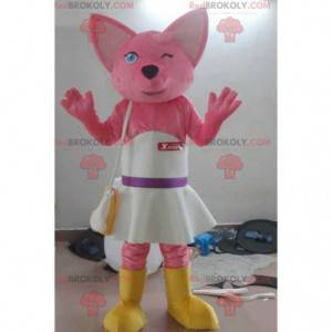 Pink kat maskot med en hvid kjole - Redbrokoly.com