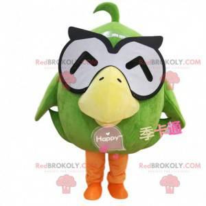 Mascote grande pato verde com óculos, fantasia de pássaro -