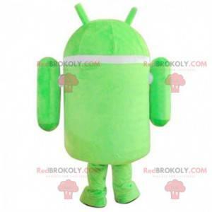 Mascotte Android, robot verde e bianco, costume da robot -