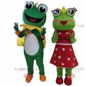 2 mascottes van kikkers, prins en prinses - Redbrokoly.com